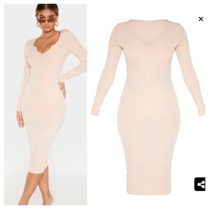 NWT PrettyLittleThing Nude Long Sleeve Midi Dress